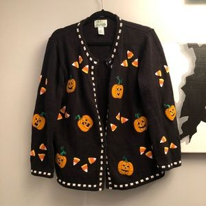 Quacker Factory Halloween cardigan- Medium EUC